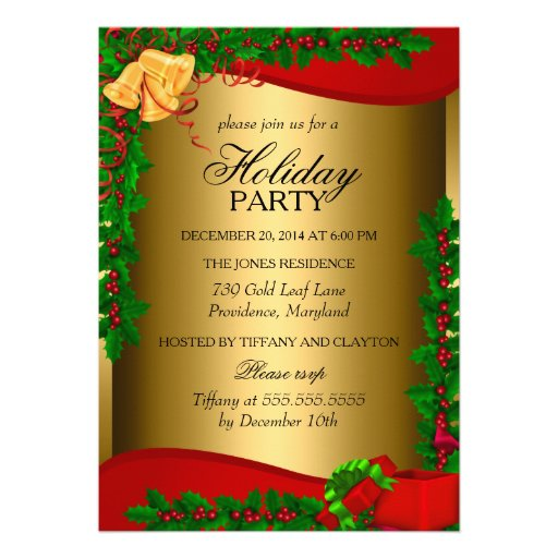 Gold Holly Leaves Bell Christmas Holiday Invite