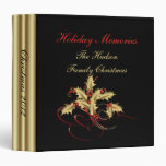 Gold Holly Red Berries Black Christmas Photo Album 3 Ring Binders