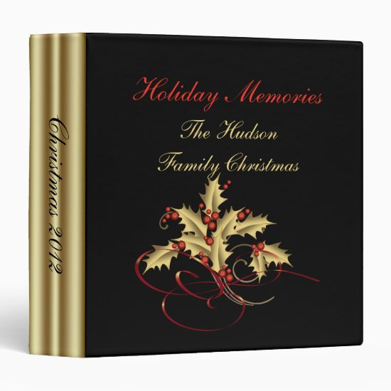 Gold Holly Red Berries Black Christmas Photo Album Binder