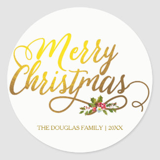 Gold & Holly Red Floral Merry Christmas Holiday Classic Round Sticker