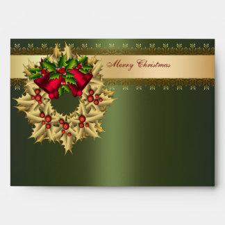 Gold Holly Wreath Green Christmas Envelopes