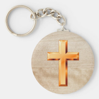 Gold Holy Christian Cross Wooden Texture Keychain
