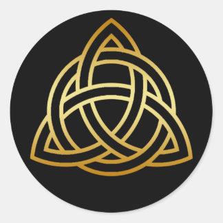 GOLD HOLY TRINITY KNOT CLASSIC ROUND STICKER