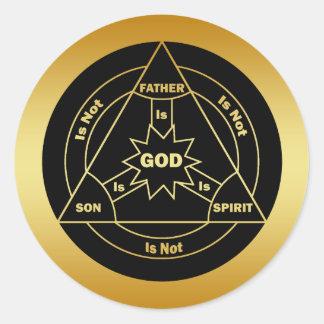 GOLD HOLY TRINITY SHIELD CLASSIC ROUND STICKER