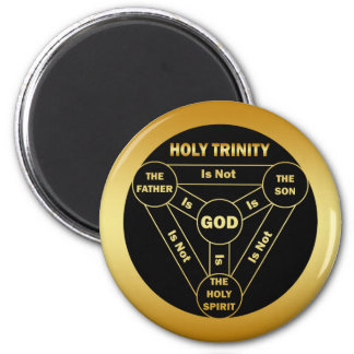 GOLD HOLY TRINITY SHIELD 2 INCH ROUND MAGNET