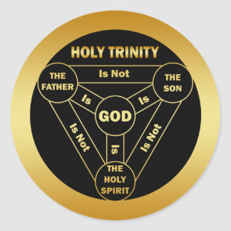 GOLD HOLY TRINITY SHIELD CLASSIC ROUND STICKER