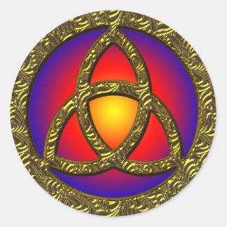 GOLD HOLY TRINITY SYMBOL CLASSIC ROUND STICKER