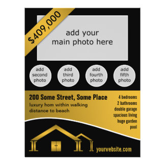 """Gold Home Icon For Sale Real Estate Agent Flyers 8.5"""" X 11"""" Flyer"""