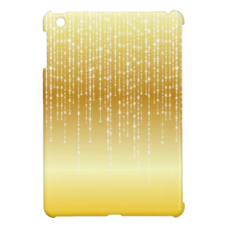 Gold Honey Amber Ombre White Strands Sparkle iPad Mini Covers