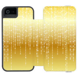Gold Honey Amber Ombre White Strands Sparkle iPhone SE/5/5s Wallet Case