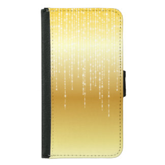 Gold Honey Amber Ombre White Strands Sparkle Wallet Phone Case For Samsung Galaxy S5