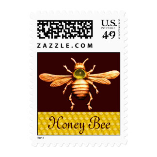 GOLD HONEY BEE / BEEKEEPER APIARIST BEEKEEPING STAMP