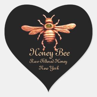 GOLD HONEY BEE / BEEKEEPER BEEKEEPING BLACK HEART HEART STICKER
