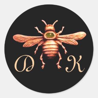 GOLD HONEY BEE / BEEKEEPER BEEKEEPING MONOGRAM CLASSIC ROUND STICKER