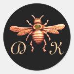 GOLD HONEY BEE / BEEKEEPER BEEKEEPING MONOGRAM STICKERS