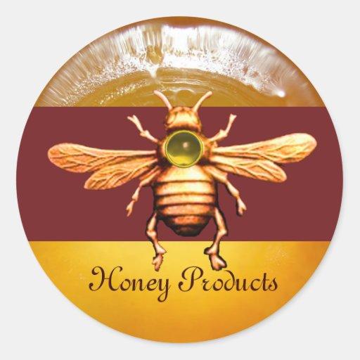 GOLD HONEY BEE / BEEKEEPER BEEKEEPING CLASSIC ROUND STICKER