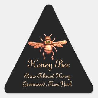 GOLD HONEY BEE / BEEKEEPER BEEKEEPING TRIANGLE TRIANGLE STICKER