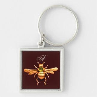 GOLD HONEY BEE MONOGRAM KEYCHAIN