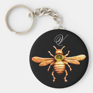 GOLD HONEY BEE MONOGRAM KEYCHAIN