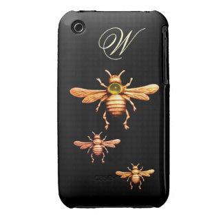 GOLD HONEY BEES MONOGRAM iPhone 3 COVER
