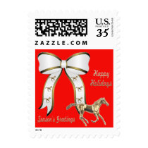 Gold Horse And Bow on Red Holiday Postage Stamps