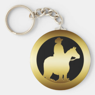 GOLD HORSE AND RIDER KEYCHAIN