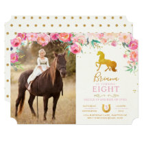 Gold Horse & Floral Photo Birthday Invitation