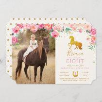 Gold Horse & Floral Photo Birthday Invitation