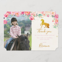 Gold Horse & Floral Photo Thank you card