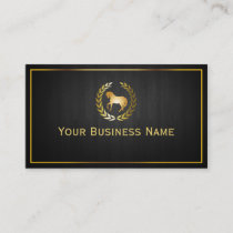 Gold Horse Logo Horseback Riding Club Business Card