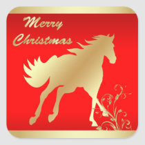 Gold Horse on Red Merry Christmas Square Sticker