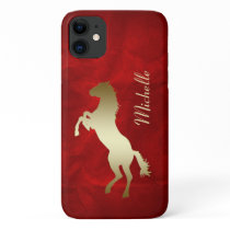 Gold Horse Red Personalized iPhone 11 Case