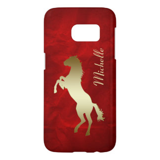Gold Horse Red Personalized Samsung Galaxy S7 Case