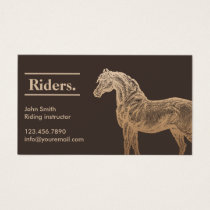 Gold Horse Tan Horseback Riding Business Card