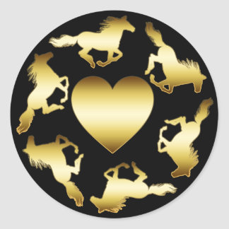 GOLD HORSES RING CLASSIC ROUND STICKER