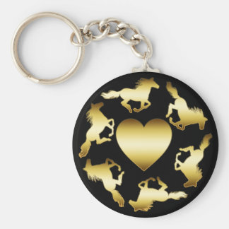 GOLD HORSES RING BASIC ROUND BUTTON KEYCHAIN