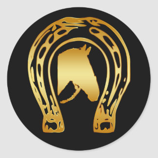 GOLD HORSESHOE AND HORSE HEAD CLASSIC ROUND STICKER
