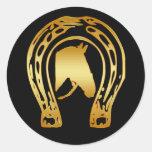 GOLD HORSESHOE AND HORSE HEAD STICKER