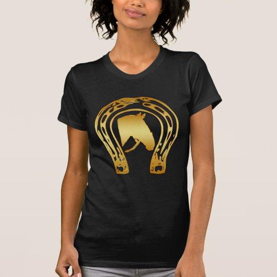 GOLD HORSESHOE AND HORSE HEAD T-Shirt