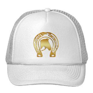 GOLD HORSESHOE AND HORSE HEAD TRUCKER HAT