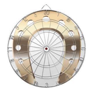 Gold horseshoe dartboard with darts