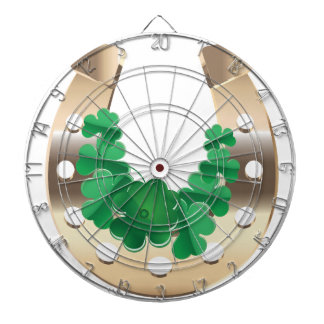 Gold horseshoe with clover dartboard