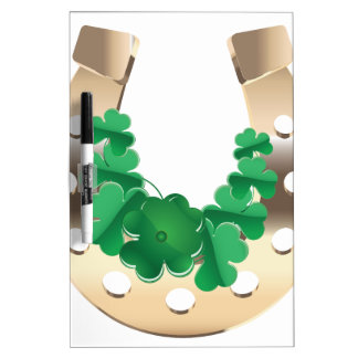 Gold horseshoe with clover Dry-Erase board