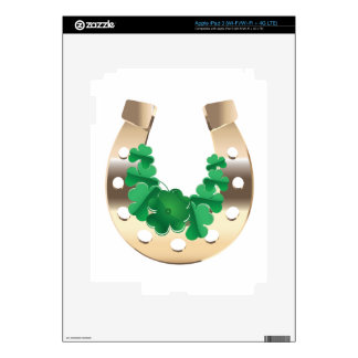 Gold horseshoe with clover iPad 3 decal