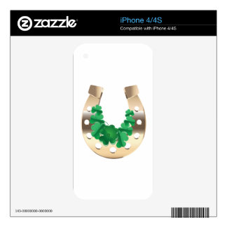 Gold horseshoe with clover skins for iPhone 4S