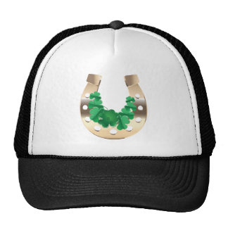 Gold horseshoe with clover trucker hat
