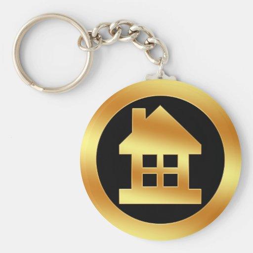 Gold House Icon Key Chains | Zazzle