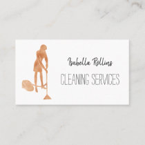 Gold Housekeeper Cleaning Services Maid Business Card