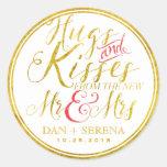 Gold Hugs Kisses from New Mr Mrs Wedding Sticker