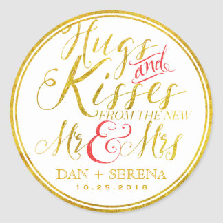 Gold Hugs Kisses from New Mr Mrs Wedding Sticker